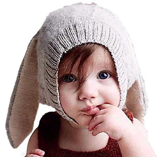 pomaikai ベビー 帽子 うさぎ 耳 ニット帽 男の子 女の子 新生児 誕生日 ギフト 記念 撮影 (グレー)