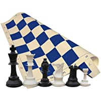 Tornament Chess Set - Chess Pieces (34 Pieces Black and White with 2 Extra Queens) - Blue Chess Board (20' x 20' Vinyl Rollup) [並行輸入品]
