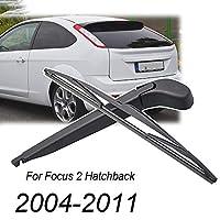 LEEXOWC フォードフォーカスMK2ハッチバック2004 2005 2006 2007 2008 2009 2010 2011用14インチウィンドシールドリヤワイパーブレード&アームセット