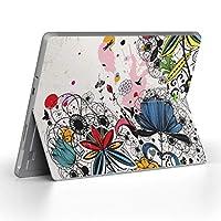 Surface go 専用スキンシール サーフェス go ノートブック ノートパソコン カバー ケース フィルム ステッカー アクセサリー 保護 フラワー 花 フラワー カラフル 007594
