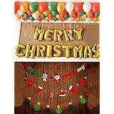 クリスマス 飾り パーティー イベント 飾り Merry Christmas アルファベット バルーン 飾り付け ラテックス風船 80個 セット サンタクロース クリスマスツリー 弔旗 装飾用品 (セット2:アルファベMerry Christmas+ラテックス風船80個+弔旗)