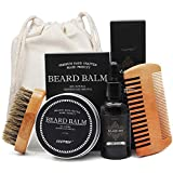 Genkent Beard Grooming & Trimming Kit for Men Care - Beard Brush, Beard Comb, Unscented Beard Oil Leave-in Conditioner, Mustache & Beard Balm Butter Wax