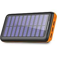 BERNET モバイルバッテリー ソーラーチャージャー 24000mah 超大容量 急速充電器 電源充電でき 2USB入力ポート 3USB出力ポート 三台同時充電可能 太陽光で充電でき USB扇風機一本付属 (orange)
