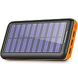 BERNET モバイルバッテリー ソーラーチャージャー 24000mah 超大容量 急速充電器 電源充電でき 2つUSB入力ポート 3つUSB出力ポート 三台同時充電可能 太陽光で充電でき USB扇風機一本付属 (orange)