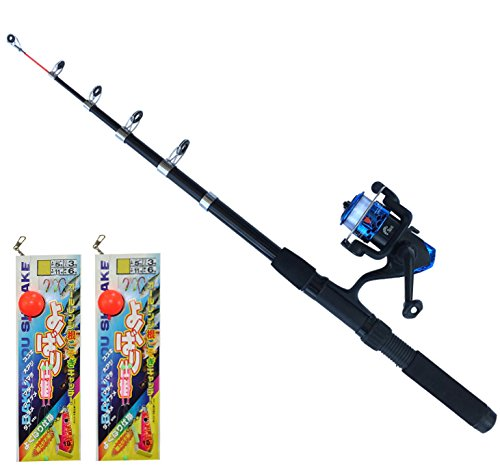 TOISTAX 釣具 よくばり セット 2m 釣り竿 ロッド リール ルアー エギング 仕掛け ちょい投げ 200A (ロッド&リール+DRAGONよくばり仕掛け×2セット 200A-19)