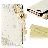 Mavis's Diary iPhone5/5s/SE用ケース 3D ハートペンダント 横開き 手帳型 ラインストーンデコ電 PUレザー カードポケット・スタンド機能付き 衝撃吸収 アイフォン5ケース ホワイト