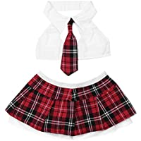 FEESHOW Women's Lingerie Set with Schoolgirl Cosplay Mini Skirt
