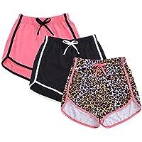 Girls 3-Pack Workout & Fashion Dolphin Shorts, Athletic Shorts, Drawstring Yoga Pants Sports Shorts Running Activewear