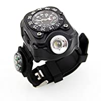 a2227b8c35 LEDライト搭載 トーチウォッチ コンパス搭載 アナログ 腕時計 LED ライトハンディトーチ 懐中電灯 アウトドア