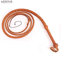 Cow Hide Leather Bull Whip 10フィートロング12 PlaitタンBullwhip Loud Crack and Heavy Duty