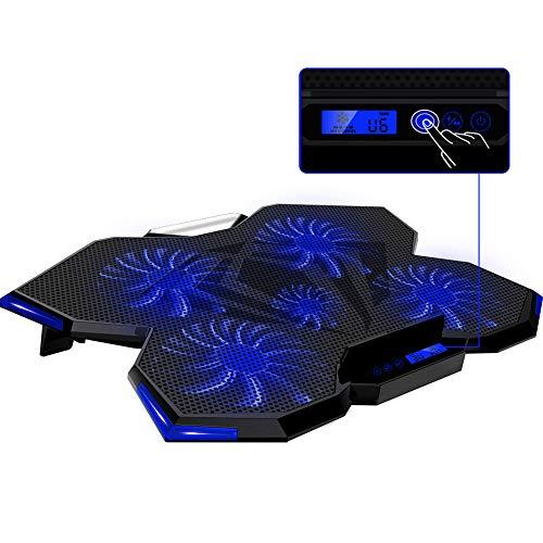 ノートパソコン 冷却パッド 冷却台 冷却ファン搭載 ノートPC クーラー クール 超静音 五つ冷却ファン 2USBポート口 LCDディスプレイ タッチスイッチ 角度調整 風量調節可能 LED搭載 ゲーム/オフィスため (青)