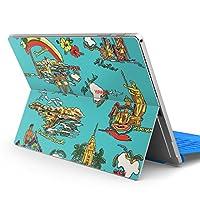 Surface pro6 pro2017 pro4 専用スキンシール サーフェス ノートブック ノートパソコン カバー ケース フィルム ステッカー アクセサリー 保護 ハワイ ヤシの木 ハイビスカス 014620