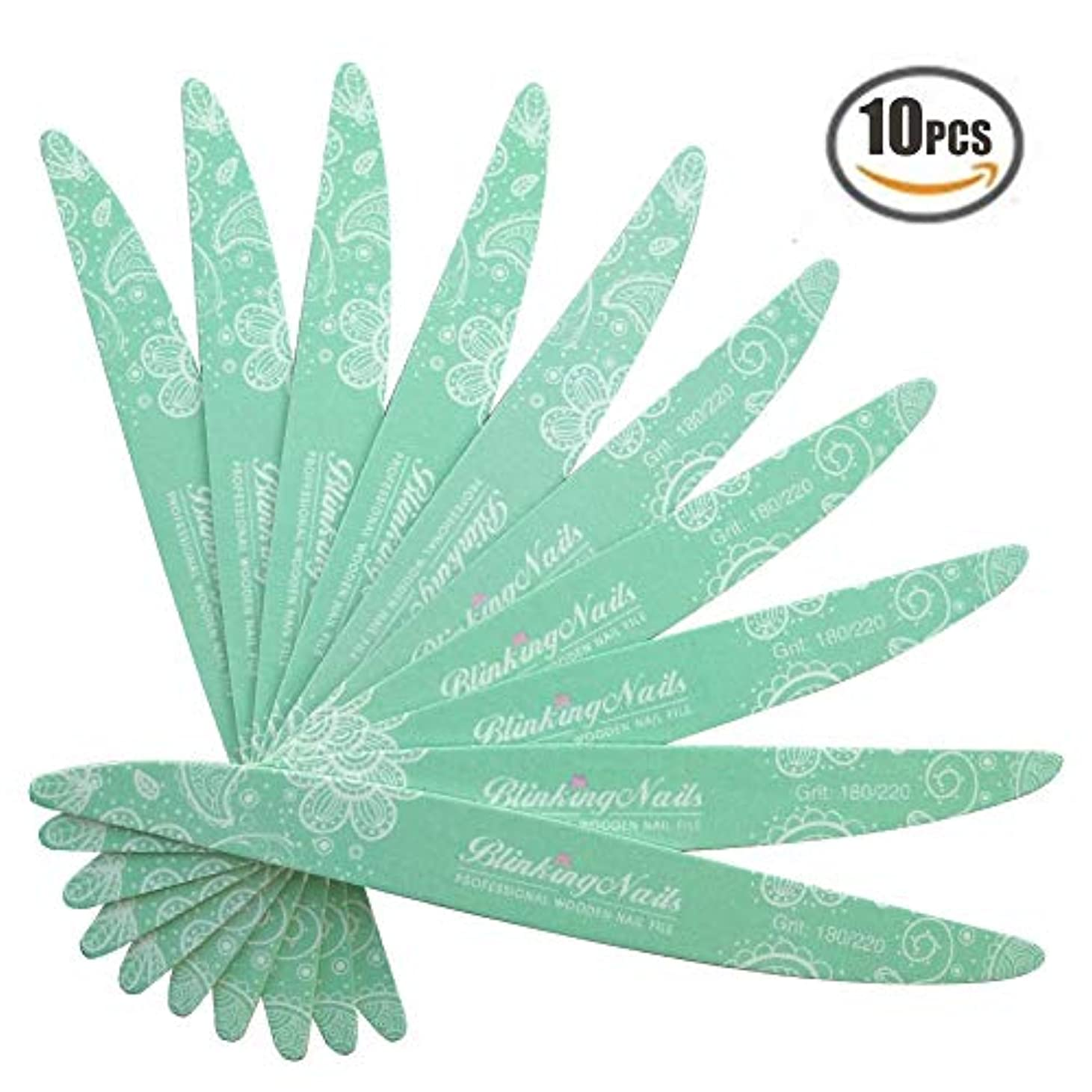 年次首尾一貫した意味ネイルファイル 洗濯可プロネイルやすり 研磨ツール 爪やすり 木製 ケアツール 両面タイプのエメリーボード 10枚入 180/220砂 緑の柳葉形 グリーン 携帯便利