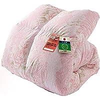 アイリスプラザ 羽毛布団 ホワイトダックダウン85% 日本製 充填量1.0kg シングルロング 花柄ピンク