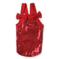 East Side Collection Polyester Sassy Sequin Pet Tank, Small/Medium, 14-Inch, Red by East Side Collection