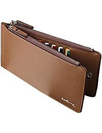 (キク)QUICOO 財布 長財布 二つ折り財布 レザー 薄型 カードケース 16枚カード収納 大容量 小銭入れ 軽量サイフ ファスナー財布 携帯収納ケース