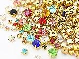 【大特価品】爪付き(座付き)高品質ガラスラインストーン ゴールド系サイズ&カラーMIX 30粒入り