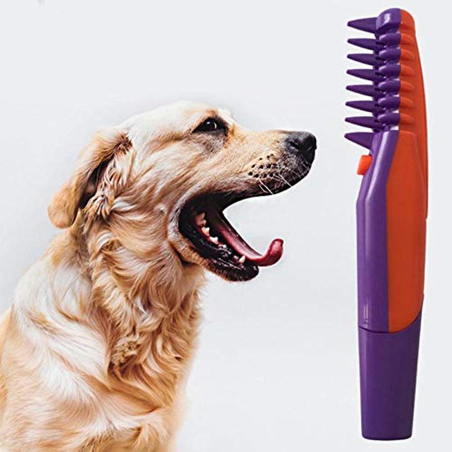 電気ペットグルーミングくしブラシはもつれや結び目をカットツールペット脱毛器ペット犬、猫、ショート、ミディアム、ロング、ダブルコートと髪の電気かみそり