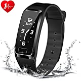 Blood Pressure Bracelet Fitness Tracker - Newyes S4Plus Smart Watch with SPO2H Heart Rate Monitor Sleeping Management Pedometer with OLED Touch Screen for Android iOS, Military Time Available