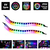 Extended Desktop LED Strip Lights - 6.6FT Computer Desk LED Strip Lights Using Extended Card Sync with Inside Computer LED Lights for Airgoo Computer LED Full Kit/ASUS Aura SYNC/MSI Mystic Light Sync