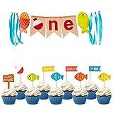 COOPER FUN 1歳釣り用バースデーバナー 誕生日カップケーキトッパー10個付き 釣りパーティーデコレーション ビッグワン 黄麻布バナー リトルフィッシャーマンバナー キッズハイチェアパーティーデコレーション