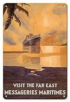 22cm x 30cmヴィンテージハワイアンティンサイン - 極東を訪れる - 水路輸送(MM) - ビンテージな遠洋定期船のポスター によって作成された ジャン・デ・ガション c.1931