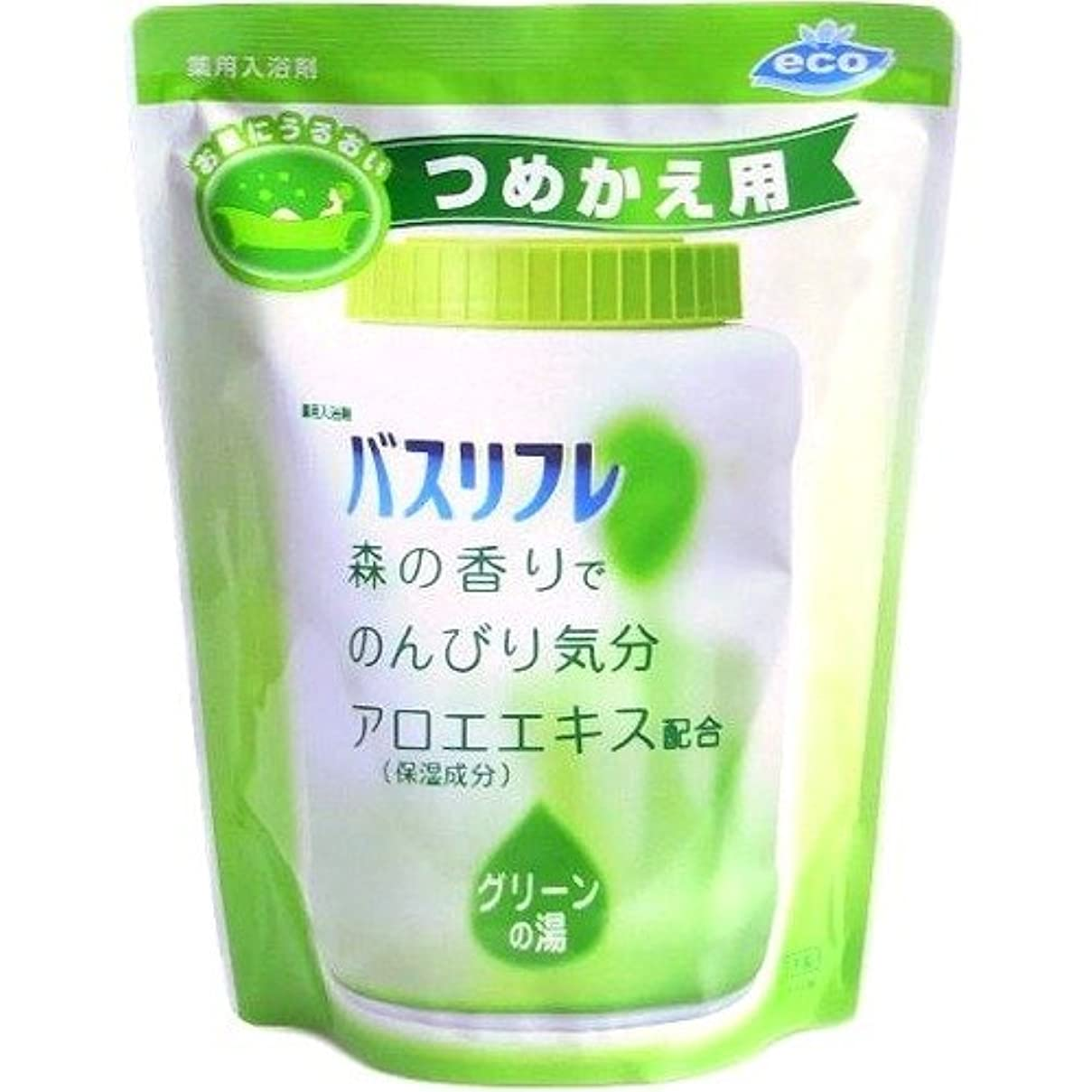 パイユニークな実際の薬用入浴剤 バスリフレ グリーンの湯 つめかえ用 540g 森の香り (ライオンケミカル)