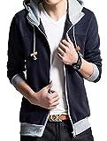 メンズ フライトジャケット (メリュエル) meryueru デザイン パーカー ジップアップ フード付き 切り替え オシャレ カラー メンズ M 〜 XXL