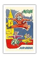 モスクワ、ロシア - エア・インディアマスコットマハラジャ - Barynya ロシアのフォークダンス - ビンテージな航空会社のポスター によって作成された J. B. Cowasji c.1960 - プレミアム290gsmジークレーアートプリント - 61cm x 91cm
