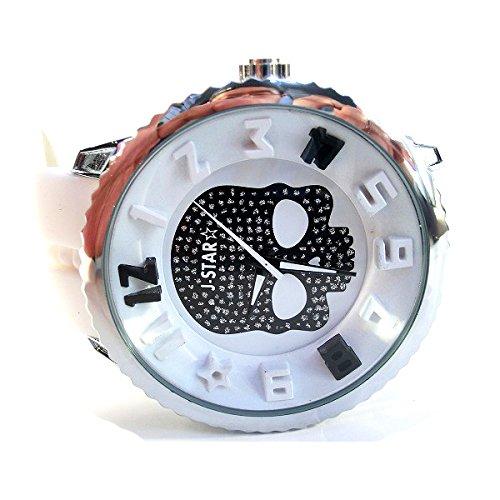 Eホワイト×ブラック (ITALICO) ビッグフェイス 3D 腕時計 スカルドクロ 50mm ユニ ガリバー テンデンス好きさんに (全5色)