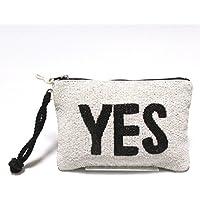 【Swaraj Bag】YES&NOビーズポーチ-WHITE