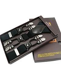 メンズ ドレスサスペンダー 幅広 調節可能なゴムのズボン吊り Y字型 6つの強力なクリップ付き