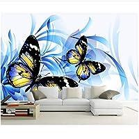 Djskhf 壁画壁紙ウォールステッカーDiyビニール家の装飾 写真の壁紙現代抽象芸術美しいロマンチックな青い蝶3Dステレオ壁画リビングルームの寝室のテレビの背景の壁紙 120X60Cm