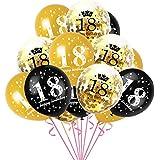 CXZC 18歳の誕生日デコレーション風船、 15個の番号18紙吹雪ラテックス風船 お誕生日おめでとうサイン 18歳の誕生日 パーティー用品、 30センチ