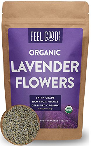 Organic Lavender Flowers (Extra Grade - Dried) - 4oz Resealable Bag - 100% Raw From France - by Feel Good Organics 141[並行輸入]