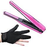 OMASI ヘアアイロン ストレートアイロン コードレスヘアアイロン  海外対応 持ち運び便利 耐熱手袋付き 電池式 温度調節可能 (ピンク)