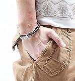 シルバーフッ ク革ヒモレザー ブレスレット 革紐 メンズ レディース シンプル Fサイズ ブラウン