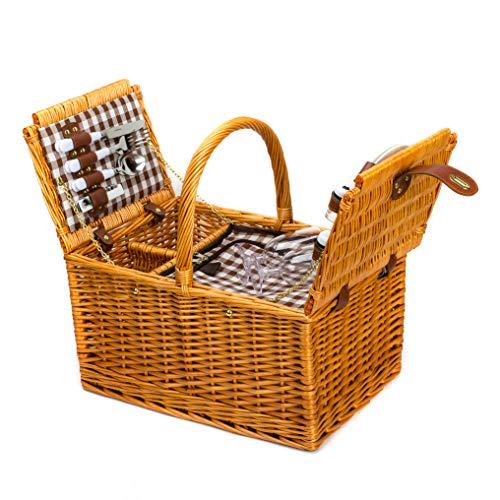 春に LoaMythos(ロアミトス) 両開きピクニックバスケット 保冷バッグ 2人用カトラリーセット おしゃピク かごバッグ お花見 ラタン グッズ かごバスケット