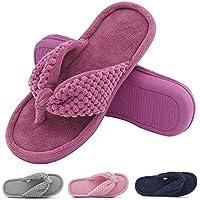 Women's Memory Foam Velvet Lining Flip Flops House Slippers
