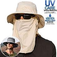サファリハット メンズ 【UPF50+ UVカット率99.9% 360度 日よけカバー】メッシュ素材 釣り帽子 3way つば広 サイズ調整可 軽薄 防水 通気性抜群 日除け 紫外線対策 折りたたみ あご紐付き アウトド