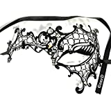 【ノーブランド品】 ベネツィアンマスク ブラックメタル ラインストーン (左ホワイトダイヤモンド)