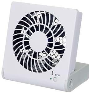 Pieria(ピエリア) 10cm コンパクトデスク扇風機 ホワイト 3電源(AC,USB,乾電池) 風量2段階切替