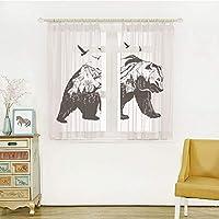 軽い薄い レースカーテン 装飾ホーム、ウインドウ窓 幅100cmx丈135cm 2枚入り クマ、山の風景飛ぶ鳥と森の野生動物デザイン装飾、ブラックホワイトと哺乳類のシルエット