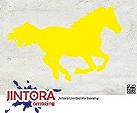JINTORA ステッカー/カーステッカー - CHEVAL Jump - CHEVALジャンプ - 137x89mm - JDM/Die cut - 車/ウィンドウ/ラップトップ/ウィンドウ- 黄色