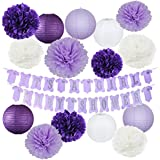 Elephant Purple Baby Shower Decorations It's A Girl Baby Shower Banner of Purple and Silver Colour with Tissue Pom Poms Girl Baby Birthday Decor Purple Baby Shower Decor