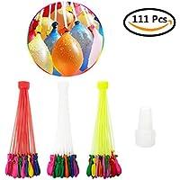 LANIAKEA水風船 水爆弾 111個(3束*37)マジックバルーン プール遊びに最適60秒以内に一気に膨らませて縛る 暑い夏の水遊びに子供の玩具 ホースアダプター付