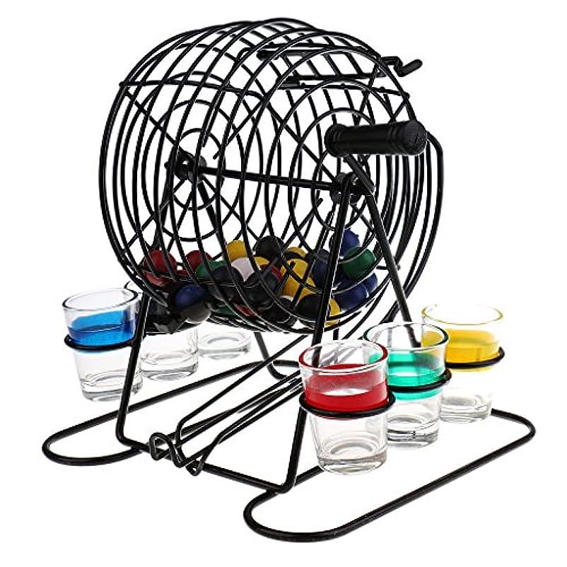 再編成する再編成するカラスBaosity ミニ ビンゴ 宝くじマシン ハンド抽選機 子供 大人 ゲーム 48ボール 6カップ 遊び パーティー