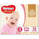 Huggies Ultimate Nappies, Girls, Size 3 (6-11kg), 72 Count