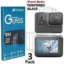 Tersely Screen Protector for GoPro Hero 7 (2018) Black /6/5, (3 Pack) Premium 9H Hardness Tempered Glass Screen Protector Front + Back Glass Lens Protector Film for Go Pro Hero7 Black Hero6 Hero5