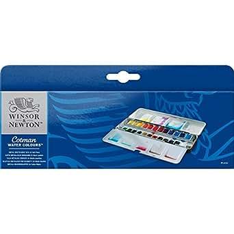 ウィンザー&ニュートン 水彩絵具 ウィンザー&ニュートン コットマン ウォーターカラー  24色セット メタル スケッチャーズ ボックスセット ハーフパン